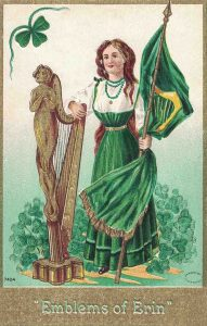 Vintage St. Patrick's Day Postcard Woman in Green with Gold Harp