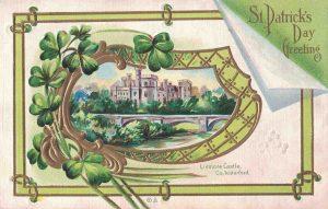 Vintage St. Patrick's Day Postcard Lismore Castle