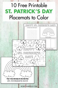 10 Free Printable St. Patrick's Day Placemats to Color