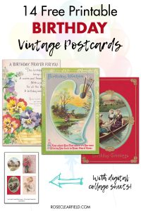 14 Free Printable Birthday Vintage Postcards