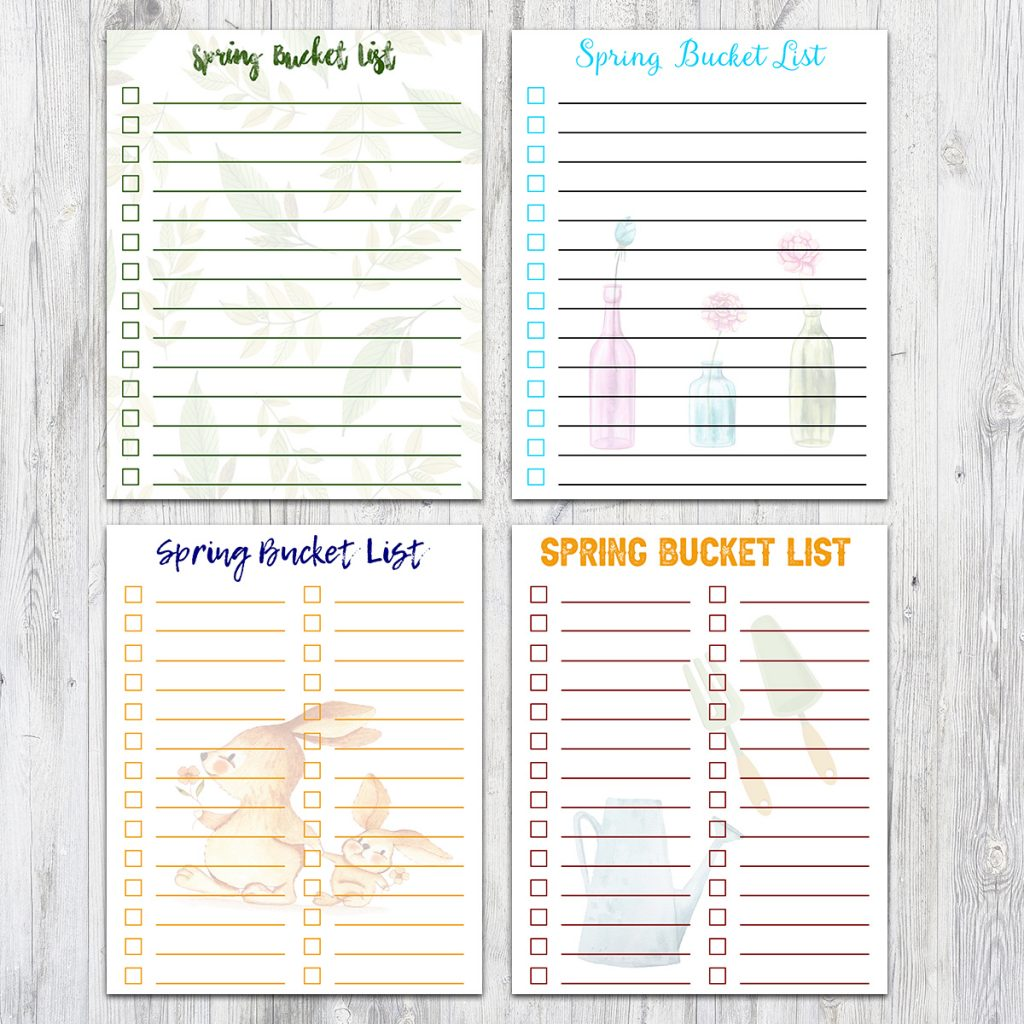 8x10 Spring Bucket Lists