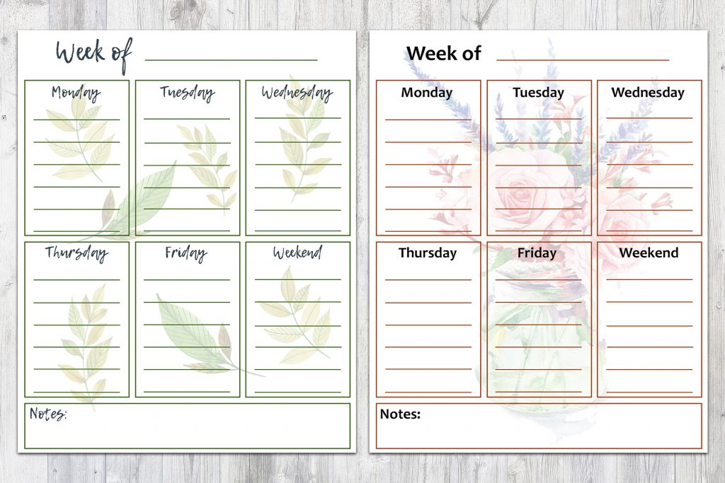 8 x 10 Spring Weekly To-Do Lists