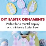 Easy kid-friendly Easter craft idea: DIY Easter egg bunny ornaments. Simple way to transform wooden Easter egg ornament blanks into a quick mantel display or for a mini holiday tree. #DIY #Eastercraftidea #kidcraftproject