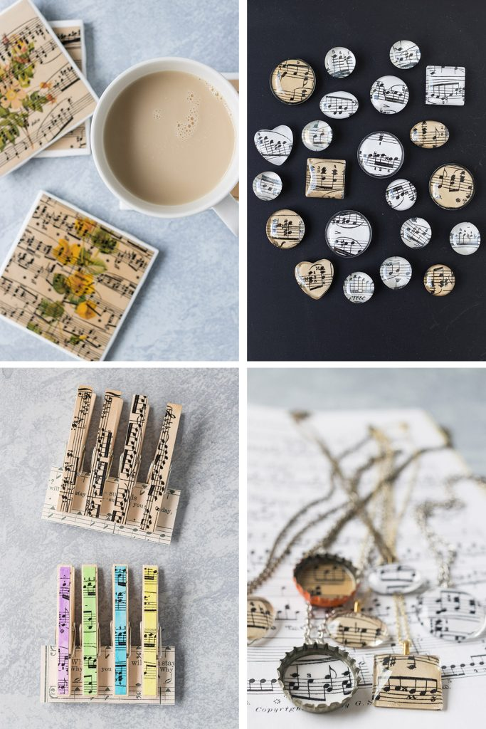 DIY Vintage Sheet Music Projects Collage