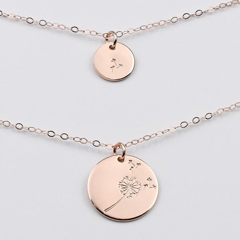 Dandelion Mother Daughter Necklace Set SashJewelry