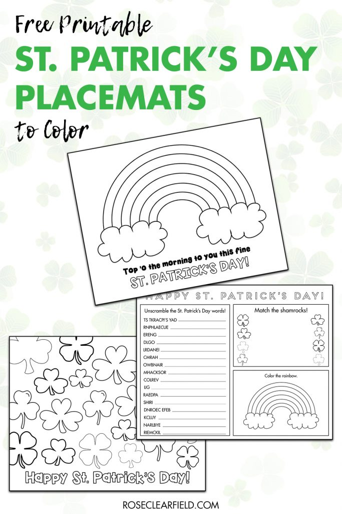 Free Printable St. Patrick's Day Placemats to Color