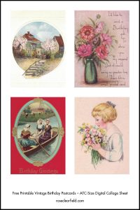 Free Printable Vintage Birthday Cards ATC-Size Digital Collage Sheets