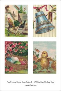 Free Printable Vintage Easter Postcards ATC Size Digital Collage Sheets Preview
