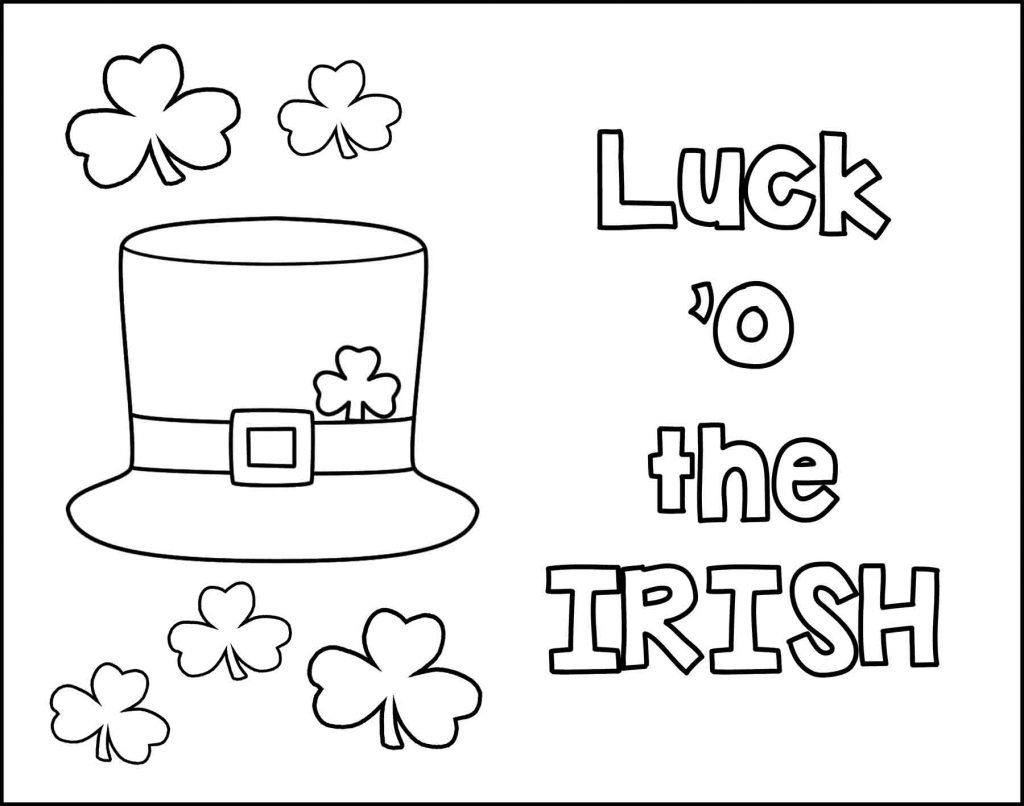 Luck o The Irish Top Hat and Shamrocks St. Patrick's Day Placemat to Color