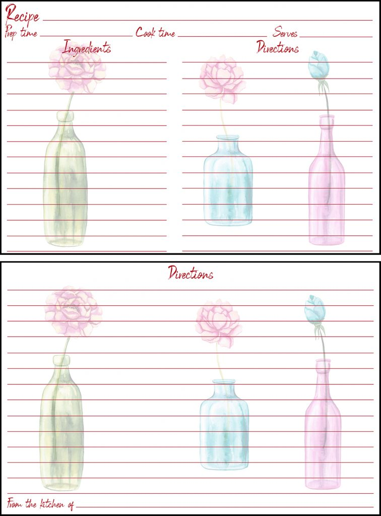 Printable Fall Recipe Card 4x6 Flowers in Vases
