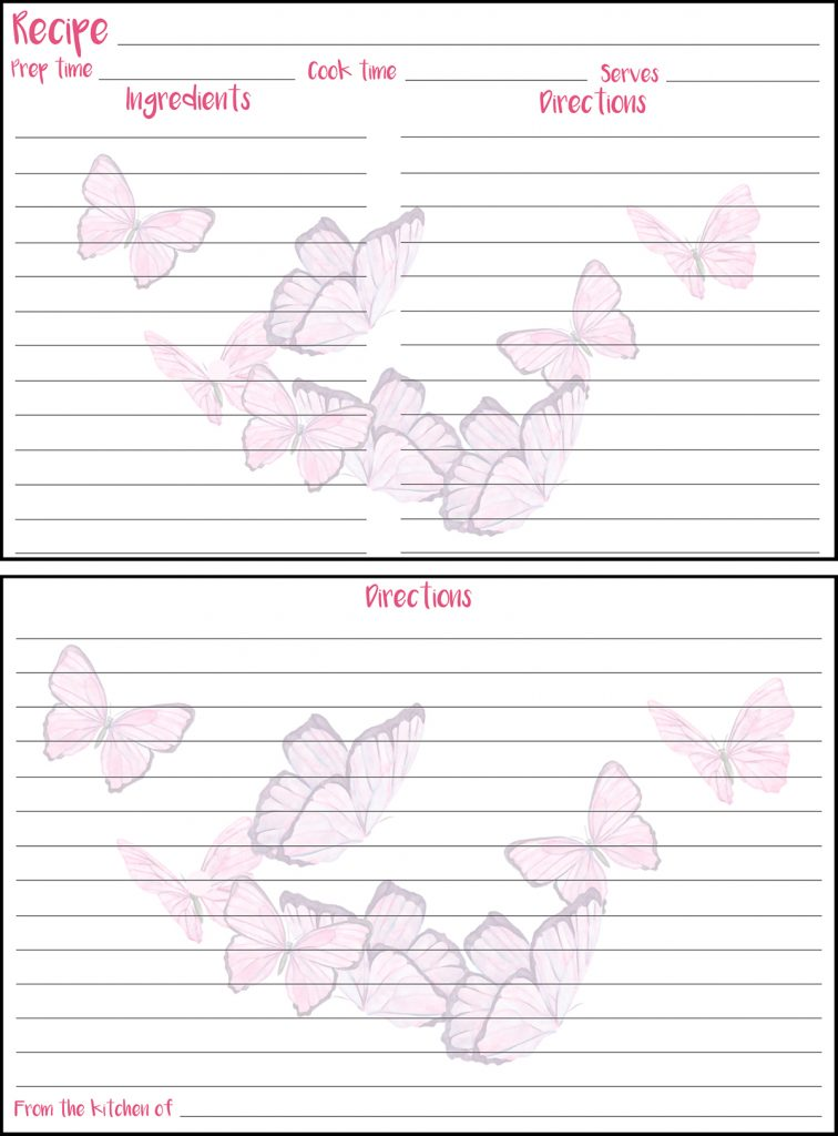 Printable Spring Recipe Card 4x6 Butterflies