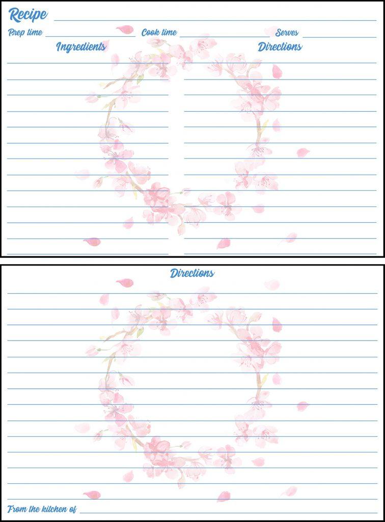 Printable Spring Recipe Card 4x6 Cherry Blossom Wreath