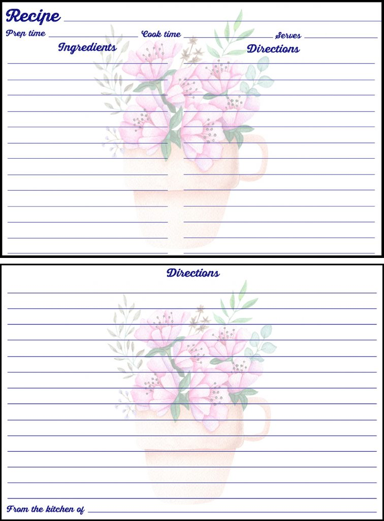 Printable Spring Recipe Card 4x6 Flowers in Pot