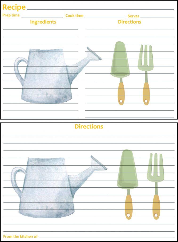 Printable Spring Recipe Card 4x6 Gardening Tools