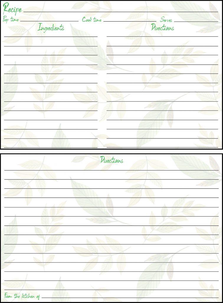 Printable Spring Recipe Card 4x6 Leaves