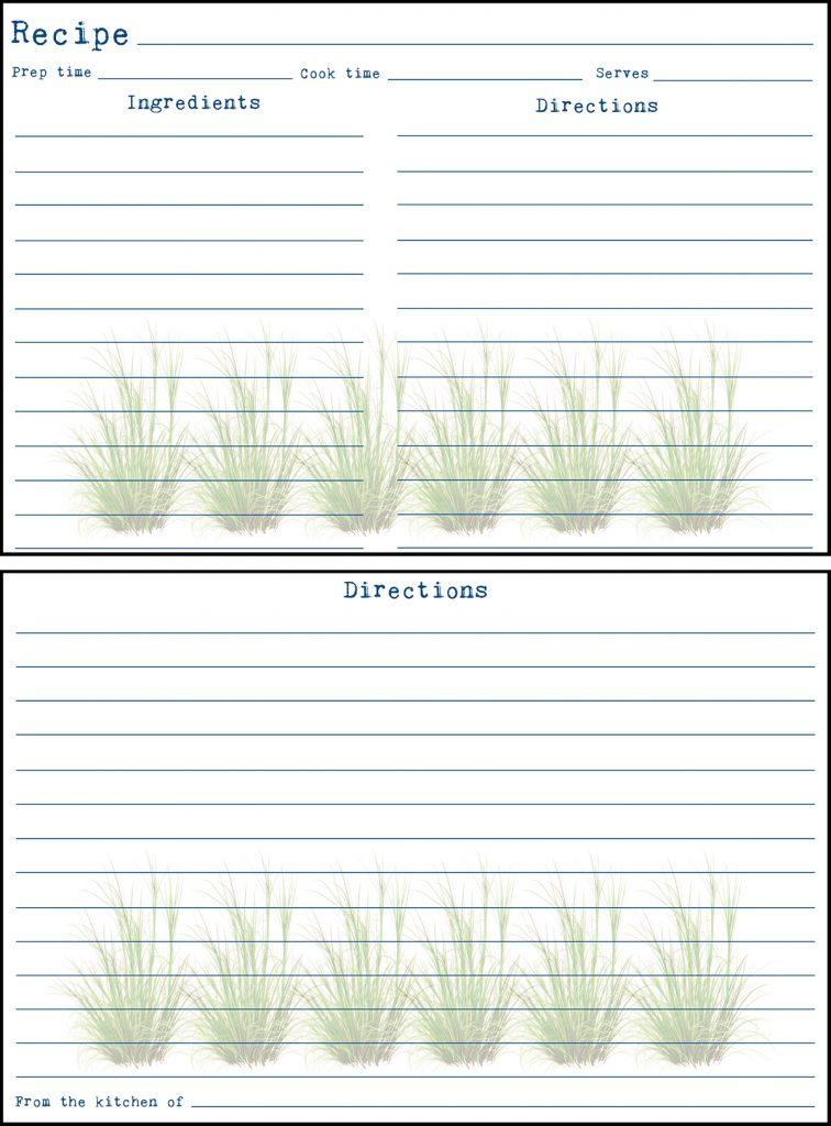 Printable Spring Recipe Card 4x6 Wild Grasses