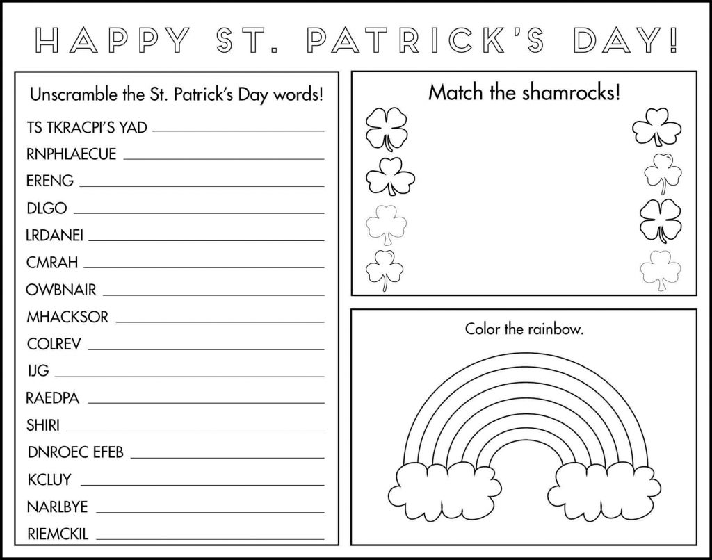 St. Patrick's Day Game Placemat