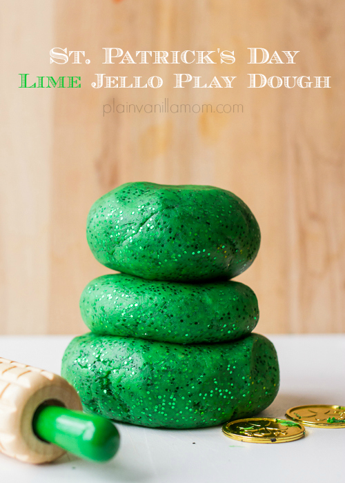 St. Patrick's Day Lime Jello Play-Doh Plain Vanilla Mom