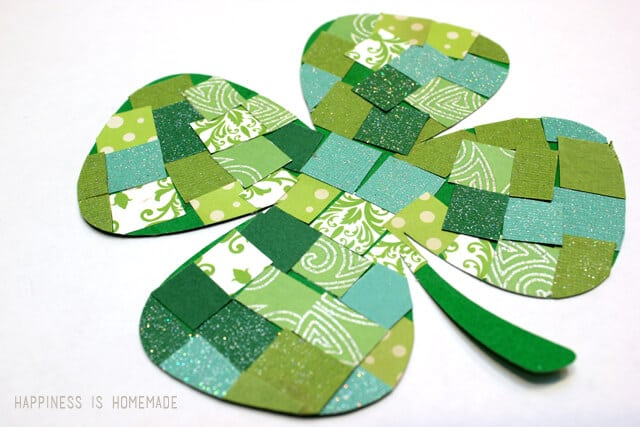 St. Patrick's Day Paper Mosaic Shamrocks Happiness is Homemade