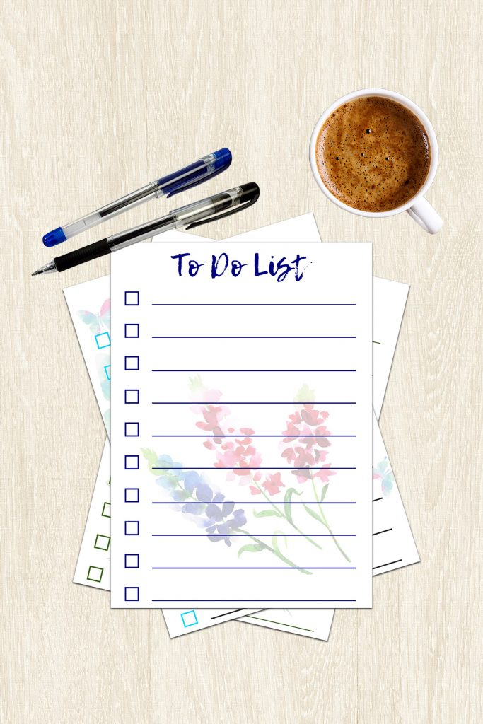 Stack of Printable Spring To Do Lists