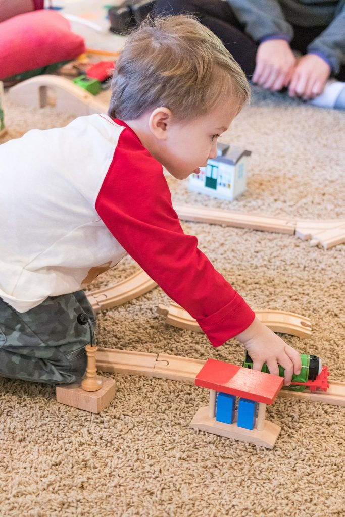 Tommy with the Wooden Train Set
