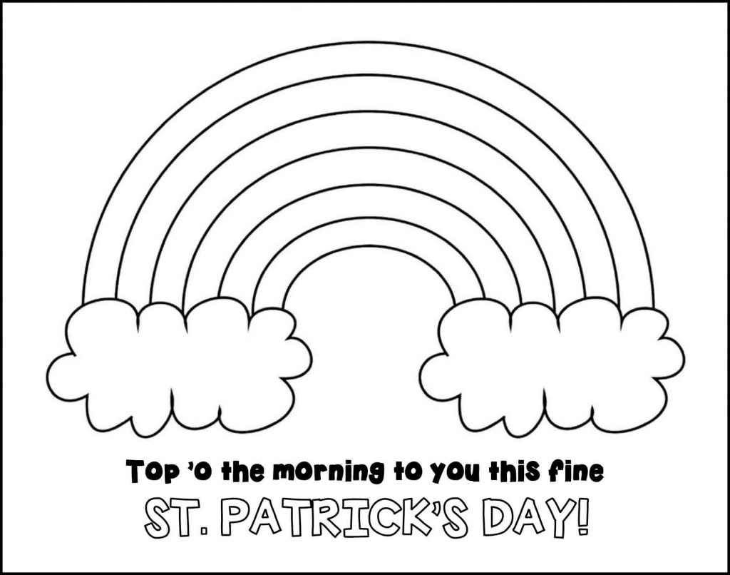Top o the Morning Rainbow St. Patrick's Day Placemat to Color