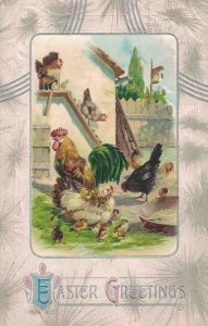 Vintage Easter Postcard Roosters and Chickens