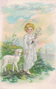 Vintage Easter Postcard Angel and Lamb