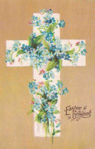 Vintage Easter Postcard Cross Covered in Flowers