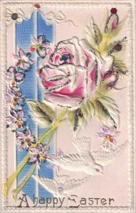 Vintage Easter Postcard with Rose