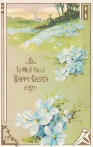 Vintage Easter Postcard Blue Flowers