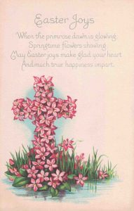Vintage Easter Postcard Cross with Pink Flowers