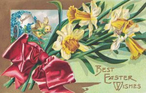 Vintage Easter Postcard Yellow Flowers
