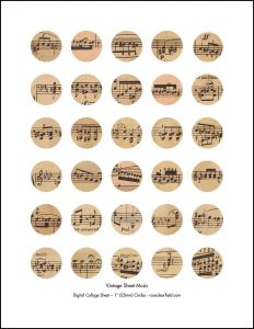 Vintage Sheet Music 1 Inch Circles