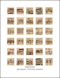 Vintage Sheet Music 1 Inch Squares