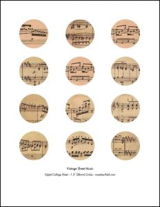 Vintage Sheet Music 1.5 Inch Circles