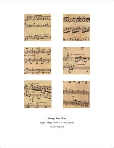 Vintage Sheet Music 2 Inch Squares