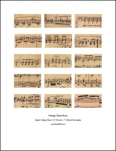 Vintage Sheet Music 2x1 Rectangles