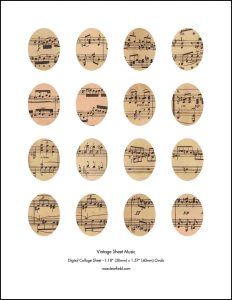 Vintage Sheet Music 30x40mm Ovals