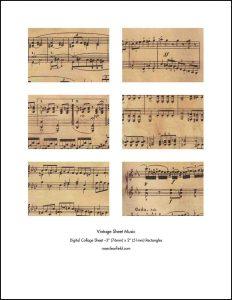 Vintage Sheet Music 3x2 Rectangles