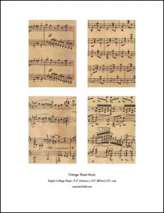 Vintage Sheet Music ATC Size