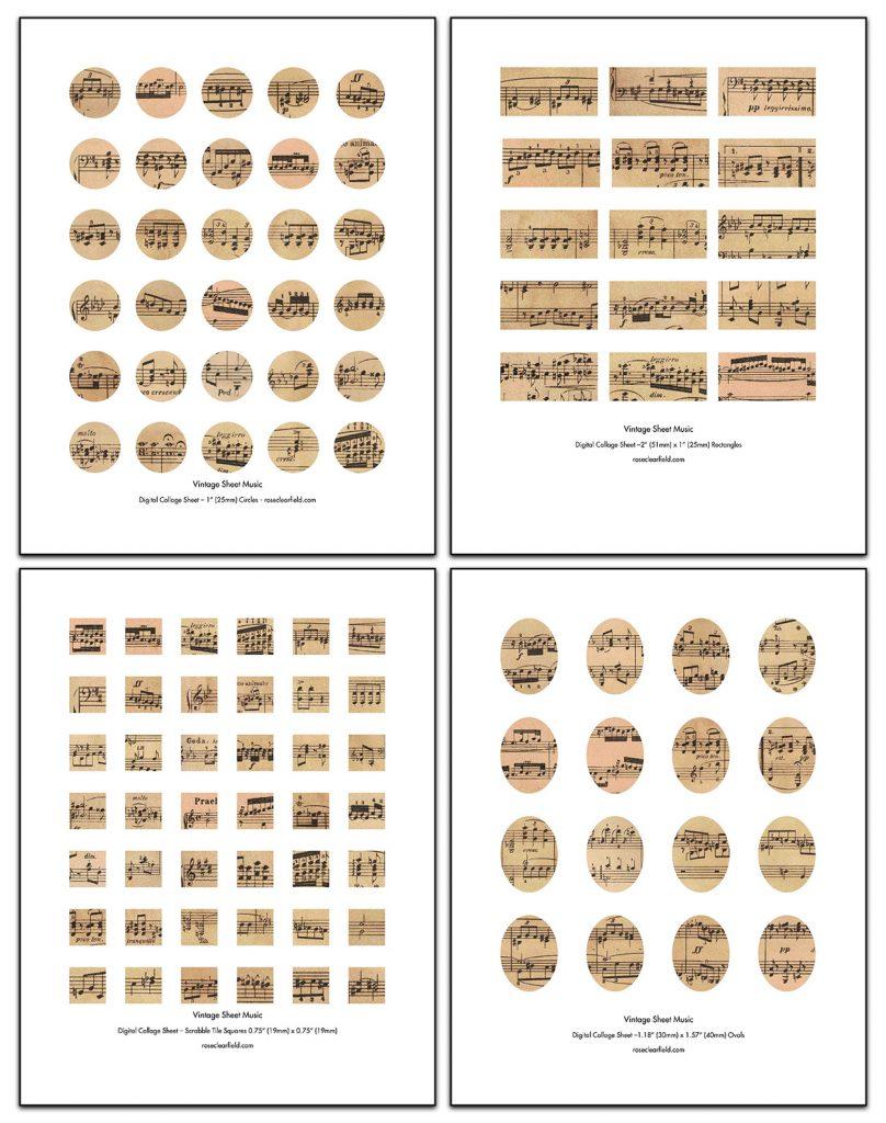 Vintage Sheet Music Digital Collage Sheets Collage