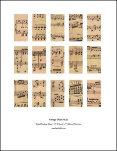 Vintage Sheet Music Dominos
