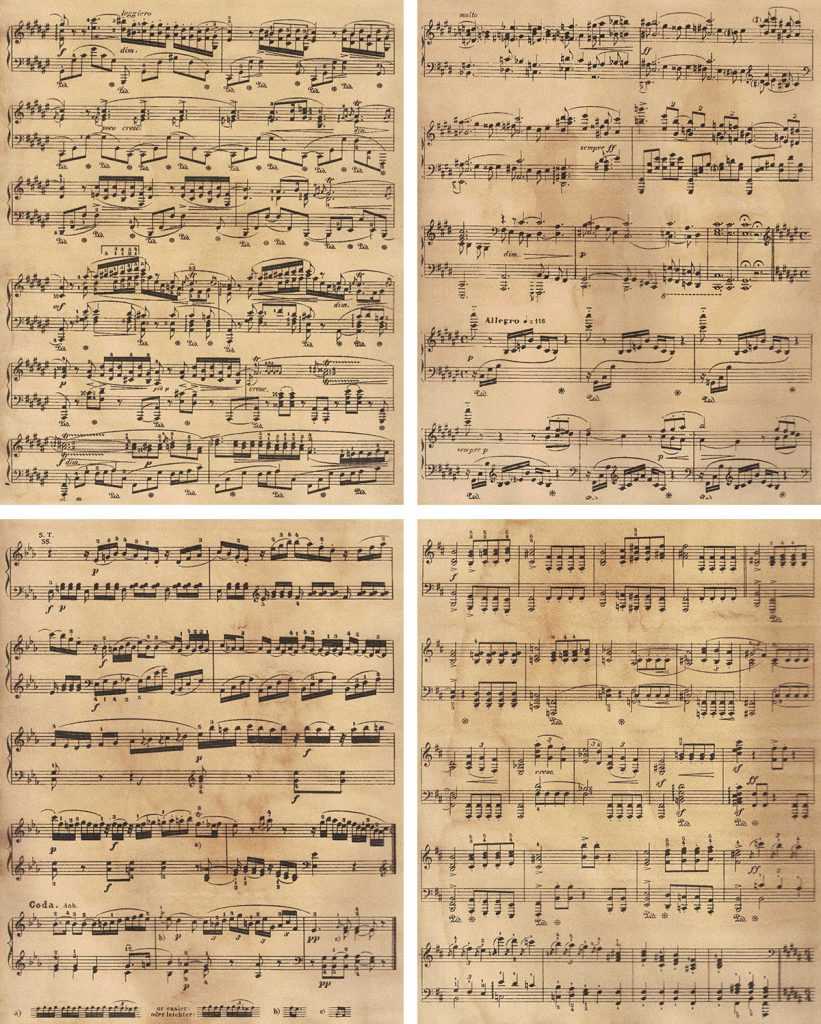 Vintage Sheet Music Pages Collage
