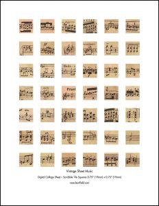 Vintage Sheet Music Scrabble Tile Squares