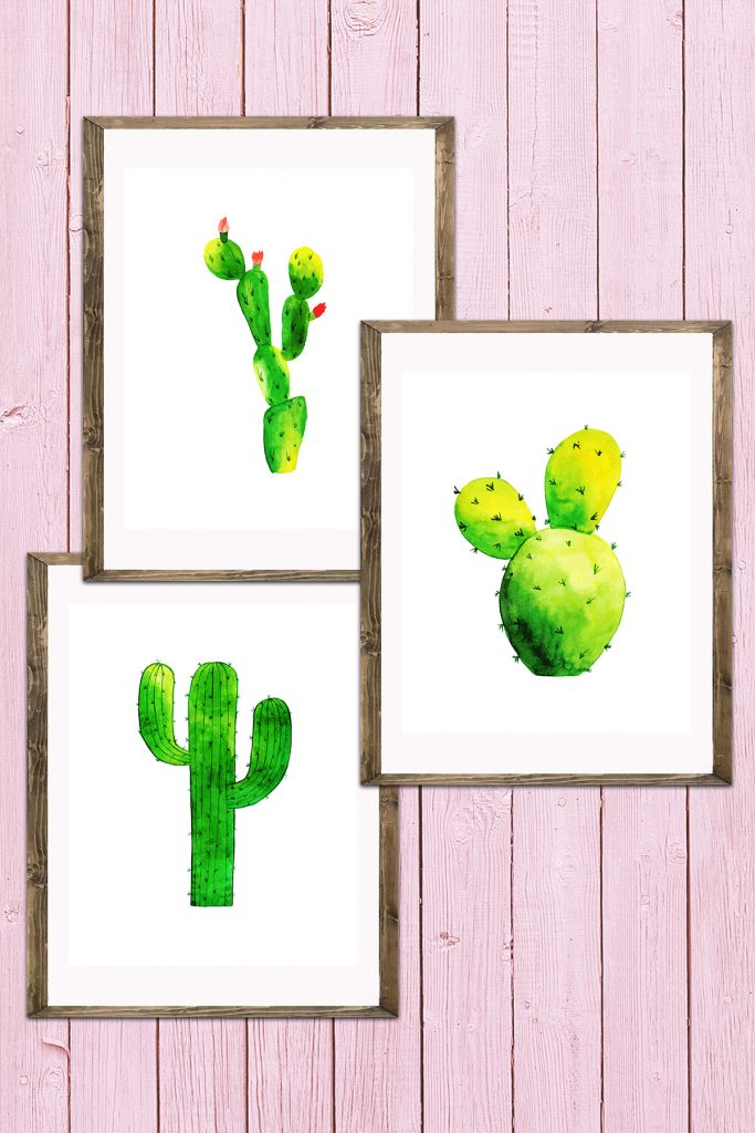 Watercolor Cactus Decor Collage