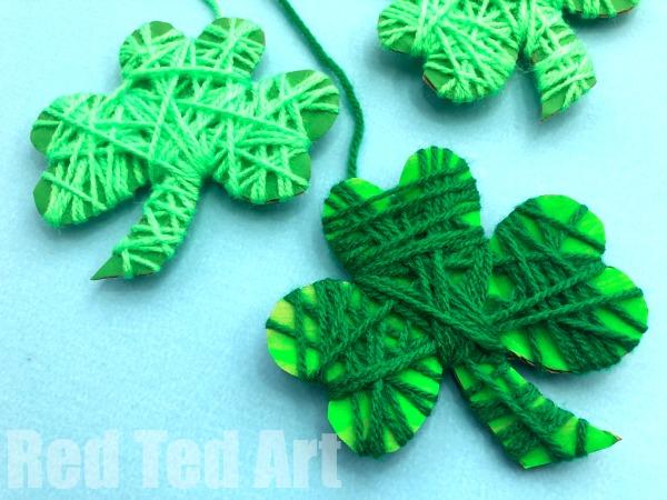 Yarn Wrapped Shamrocks Red Ted Art