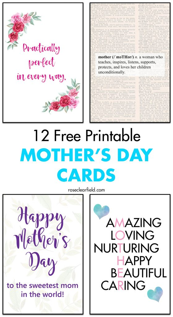 12 Free Printable Mother's Day Cards