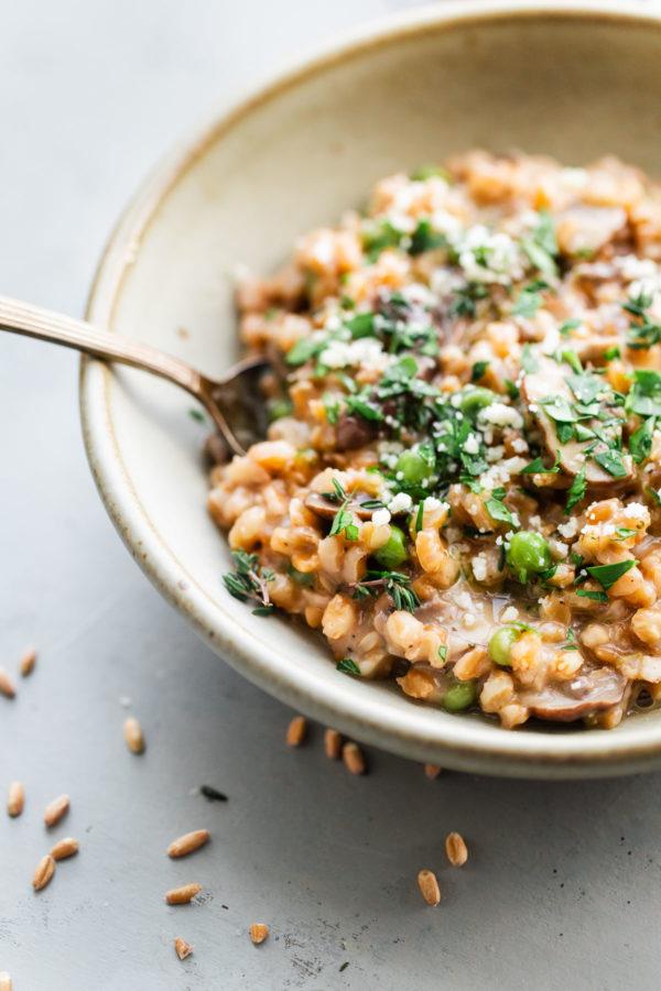 Easy Mushroom Farro Risotto A Beautiful Plate
