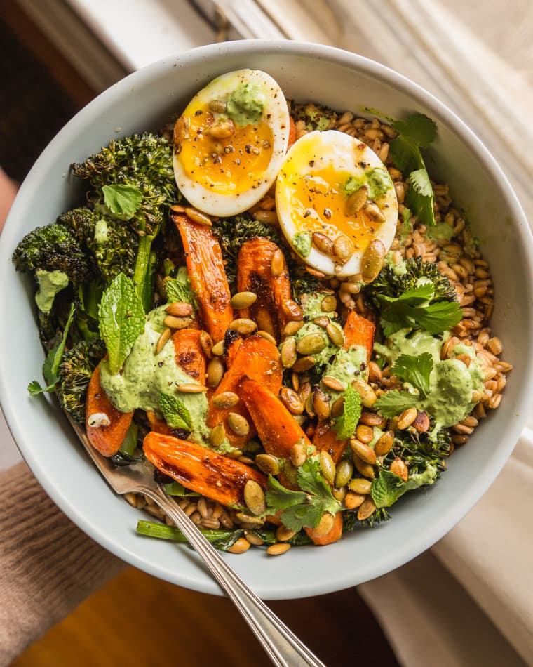 Farro Bowl with Carrots, Broccolini, and Yogurt Dressing Kitchn